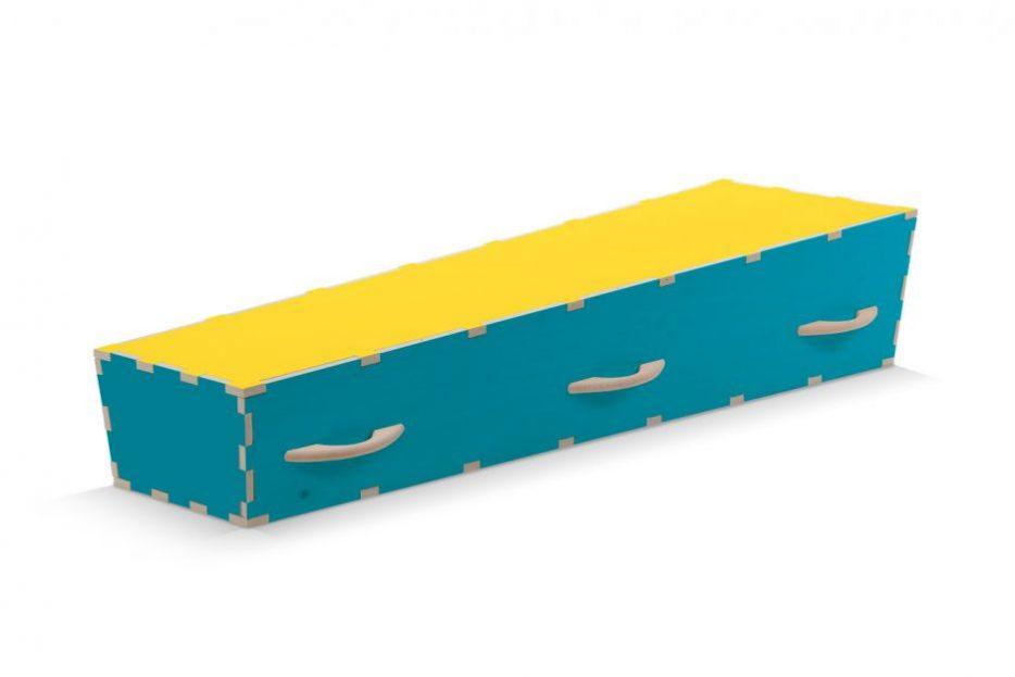 Uitvaartkist doodskist kleuren blauwe met gele deksel Beerenberg handvaten