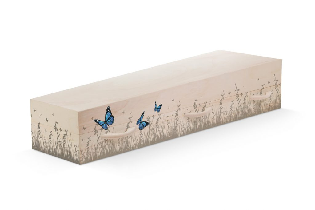 Uitvaartkist doodskist gras natuur vlinders Beerenberg