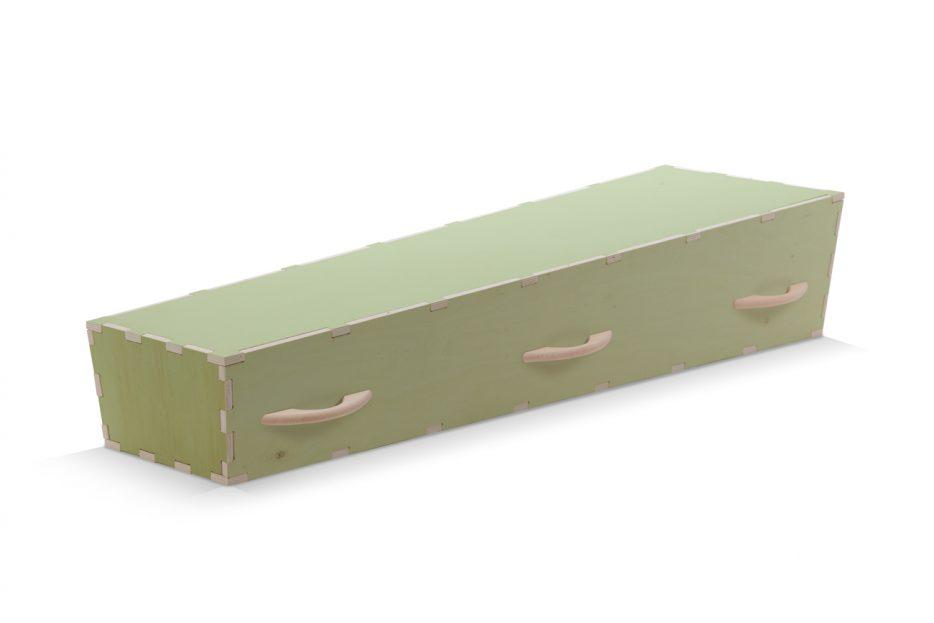Uitvaartkist doodskist doe het zelf Kleur groen handvaten