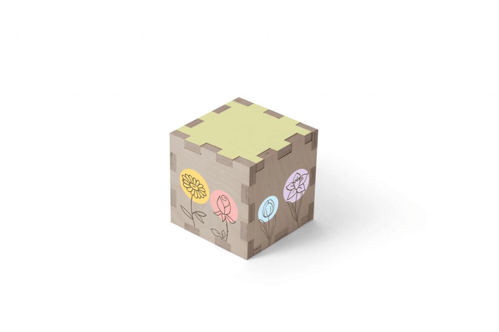 Urn kubus hout bloemen beerenberg
