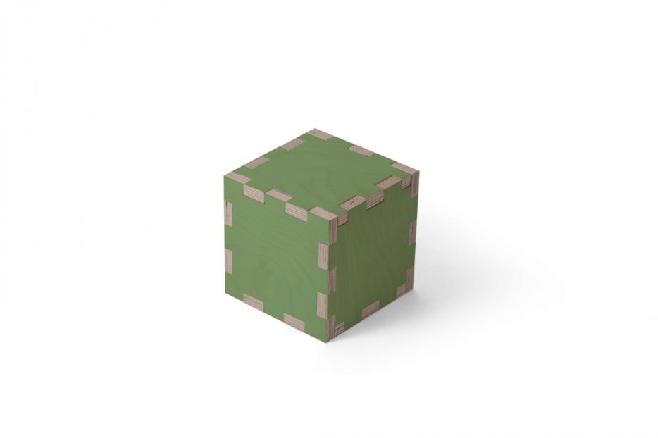 Urn kubus hout groen beerenberg