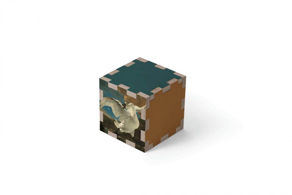 Urn kubus hout zwaan beerenberg